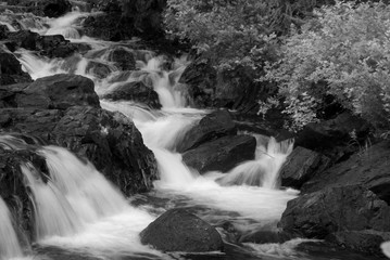 motion-blurred waterfall cascading down a narrow rocky passage