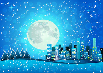 Snow Pixel art night city card. Vector illustration