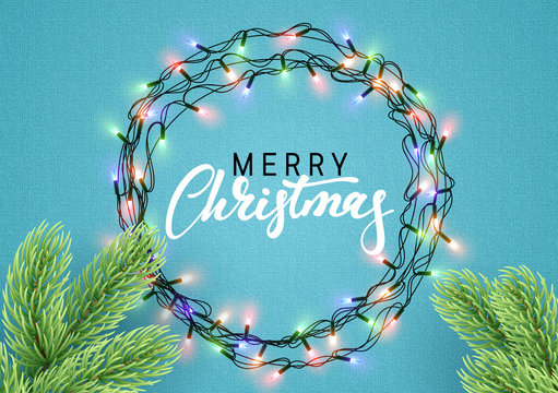 Christmas background with bright realistic garlands
