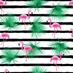 Tropic seamless pattern with flamingo