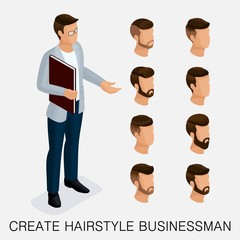 Trendy isometric set 3, qualitative study, a set of men's hairstyles, hipster style. Fashion Styling, beard, mustache. The style of today's young businessman. Vector illustration