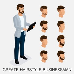 Trendy isometric set 4, qualitative study, a set of men's hairstyles, hipster style. Fashion Styling, beard, mustache. The style of today's young businessman. Vector illustration