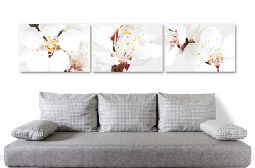 Floral motif canvas over modern couch, Spring flowers blossom collage for interior decor.