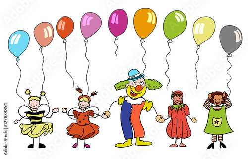 Fasching Clown Mit Kindern Unter Bunten Ballons Stock Image And