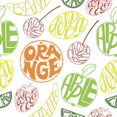 Seamless pattern with fruits with handwriting inside