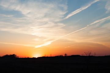 Golden prairie sunset sky
