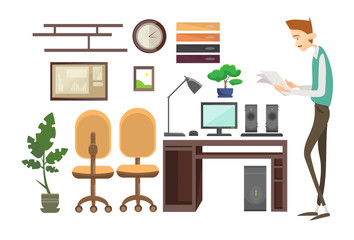 Business Man Interior Workplace, Businessman Manager Office Worker Flat Vector Illustration