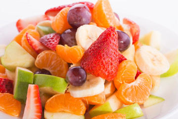 Closeup of a colorful fruit salad on a plate