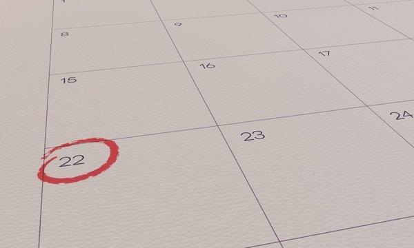 Calendar Yellow Pin day 22