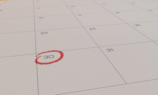 Calendar Yellow Pin day 30