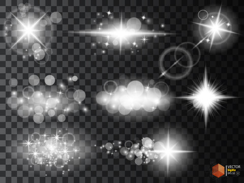 Silver glitter bokeh lights and tinsel. Bright star, solar particles  sparks with glare effect on a transparent background
