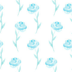 Watercolor Blue Rose Seamless Pattern