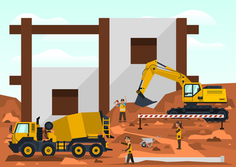 Construction site. Employees performing the construction of the building