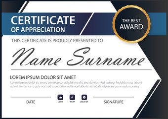 Blue black elegant horizontal certificate with Vector illustration white frame certificate template with clean and modern pattern presentation
