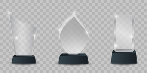 Glass trophy award vector set