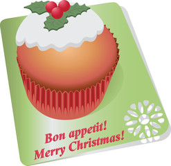 Cupcake with Christmas berries. Vector image. Design dessert menus, brochures, banners, flyers.