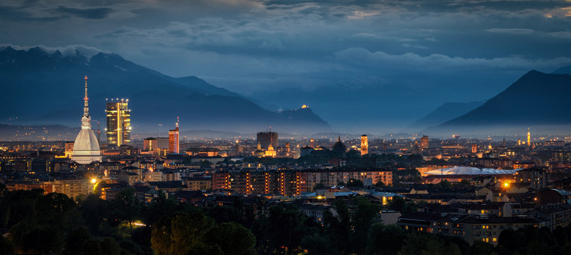 Turin (Torino) high definition panorama with all the city skylin