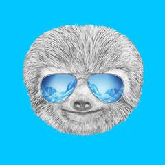 Portrait of Sloth with mirror sunglasses. Hand drawn illustration.