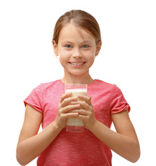 Cute little girl with glass of fresh milk on white background