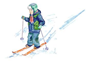 Kid skiing, hand painted watercolor illustration