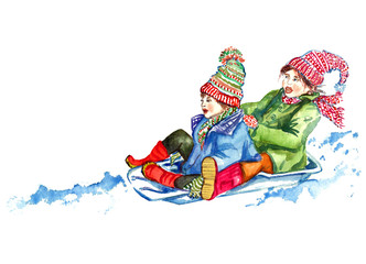 Children sledding, isolated  hand painted watercolor illustration