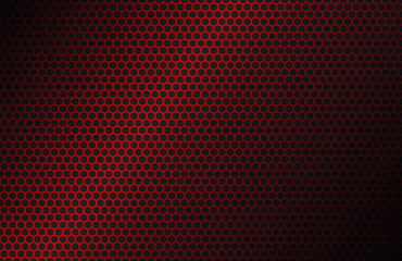 Red geometric polygons background, hexagon symbol, abstract black metallic wallpaper, vector illustration