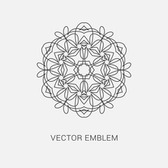 Logo design template, creative intricate  monogram, abstract round emblem, mono line decorative icon, vector mandala illustration