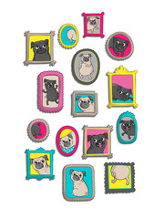 Frames with portraits of pugs. Vector illustration