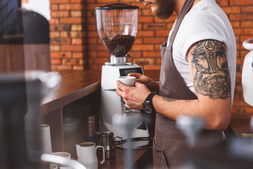 Skillful bartender brewing coffee in cafeteria