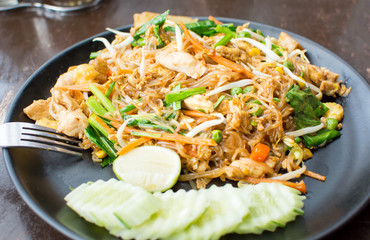 Pad Thai meal served on a plate