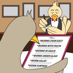 Bird in fancy restaurant is looking at menu and trying to decide which worm entree to have