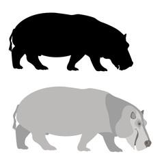 Hippo vector illustration style Flat set black silhouette
