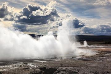 Geyser erupting in yellowstone