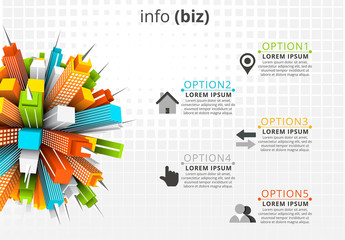 Business Infographic with 3D Building Element