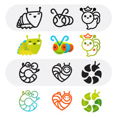 Funny caterpillars. Set of vector caterpillar signs. Line art and cartoon style symbols. Good for logotype, icons or symbols of children projects.