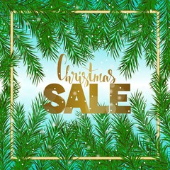Christmas sale. Green fir branch, gold text. Vector banner.
