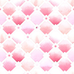Wilton trellis pattern with quatrefoil of pink colors on white background. Watercolor seamless pattern