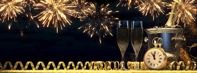 two glasses with champagne and bottle. 3d rendering