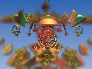 Colorful statue fractal 3D rendering