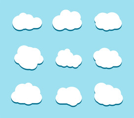 Set of white sky, clouds. Cloud icon, cloud shape. Set of different clouds. Collection of cloud icon, shape, label, symbol. Graphic element. design element for logo, web and print