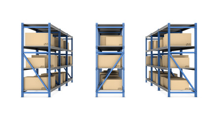 Rendering of metal racks standing together in three rows, with beige cardboard boxes isolated on the white background.