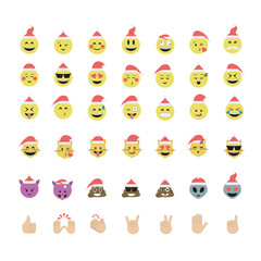 Set of funny emoticon vector isolated on white background. New Y