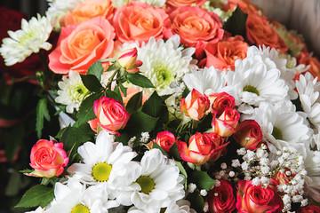 close-up of wedding bouquet