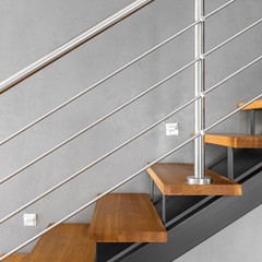 Simple staircase with chromed railing