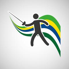 fencing sportsman flag background design vector illustration eps 10