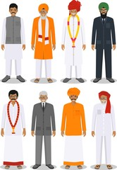 Set of different standing indian old and young men in the traditional clothing isolated on white background in flat style. Differences people in the east dress. Vector illustration.