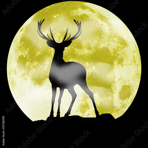 Black silhouette of a deer in front of the moon. Hunting illustration
