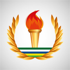 burning torch olympic games emblem vector illustration eps 10