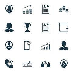 Set Of Hr Icons On Pin Employee, Manager And Curriculum Vitae Topics. Editable Vector Illustration. Includes Mobile, Cup, Map And More Vector Icons.