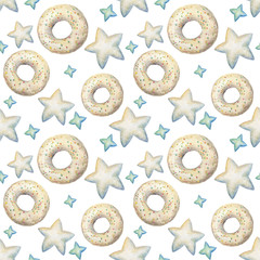 Hand painted watercolor seamless pattern pattern with vanilla glazed donuts and stars isolated on white. Holiday theme repeating background